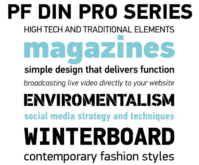 DIN Text font sample