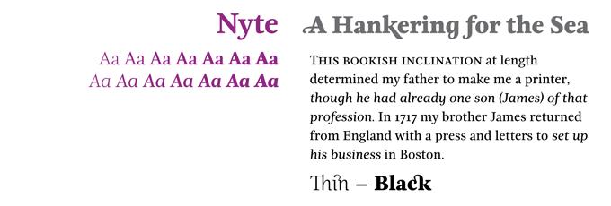 Nyte font sample