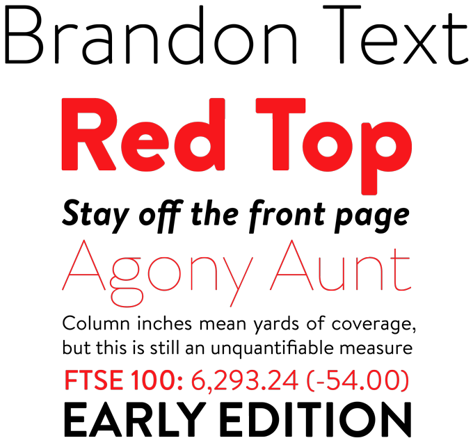 Brandon Text font sample