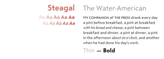 Steagal font sample