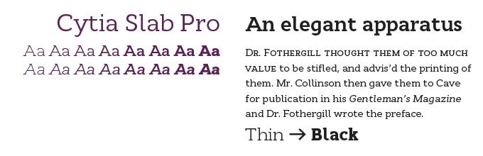 Cytia Slab Pro font sample