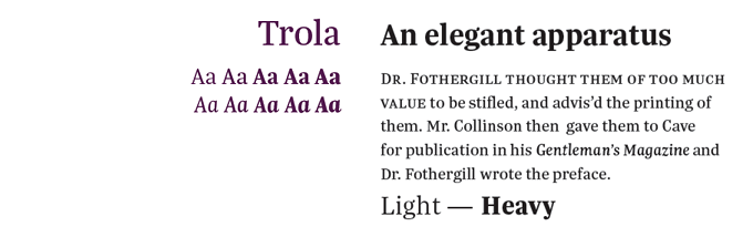 Trola font sample