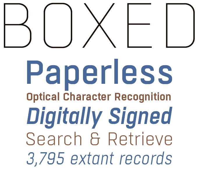 Boxed font sample