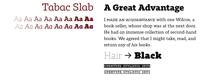 Tabac Slab font sample