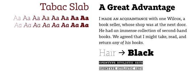 Tabac Slab font sample