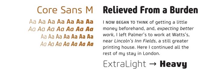 Core Sans font sample