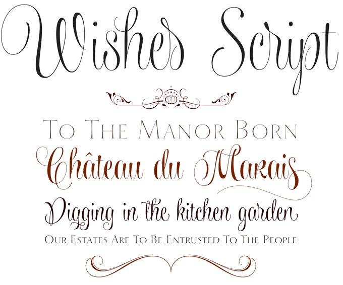 Wishes Script font sample