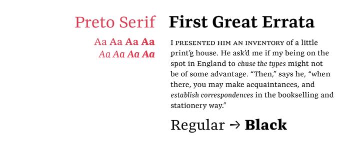 Preto font sample