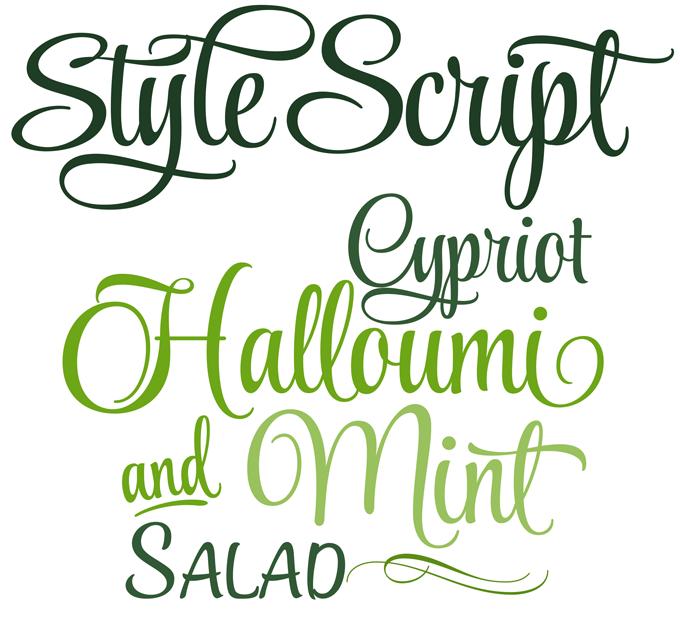 Style Script font sample
