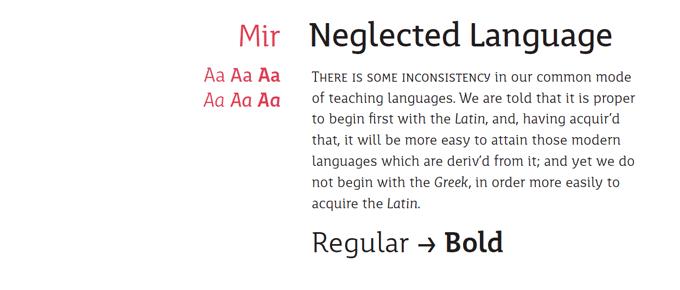 Mir font sample