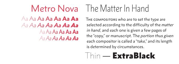 Metro Nova font sample