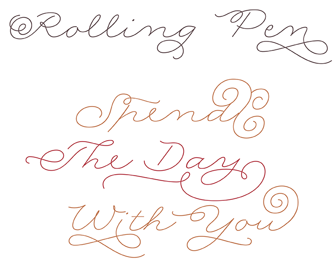 Rolling Pen font sample