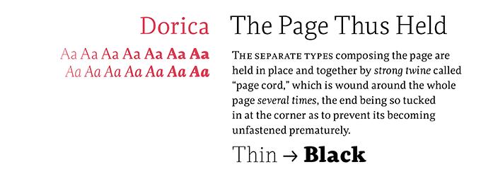 Dorica font sample
