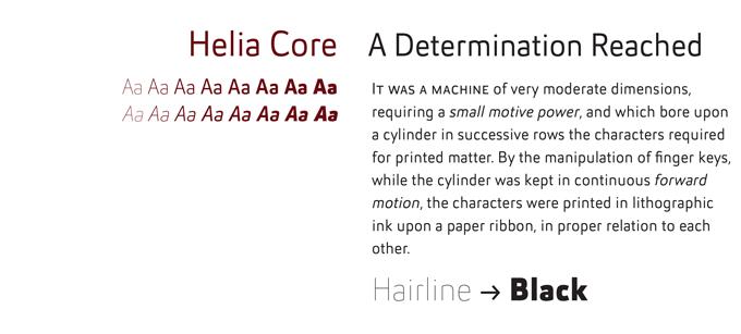 Helia Core font sample