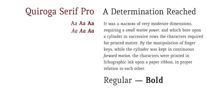 Quiroga font sample