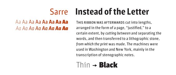 Sarre font sample