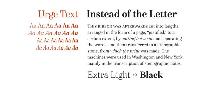 Urge Text font sample