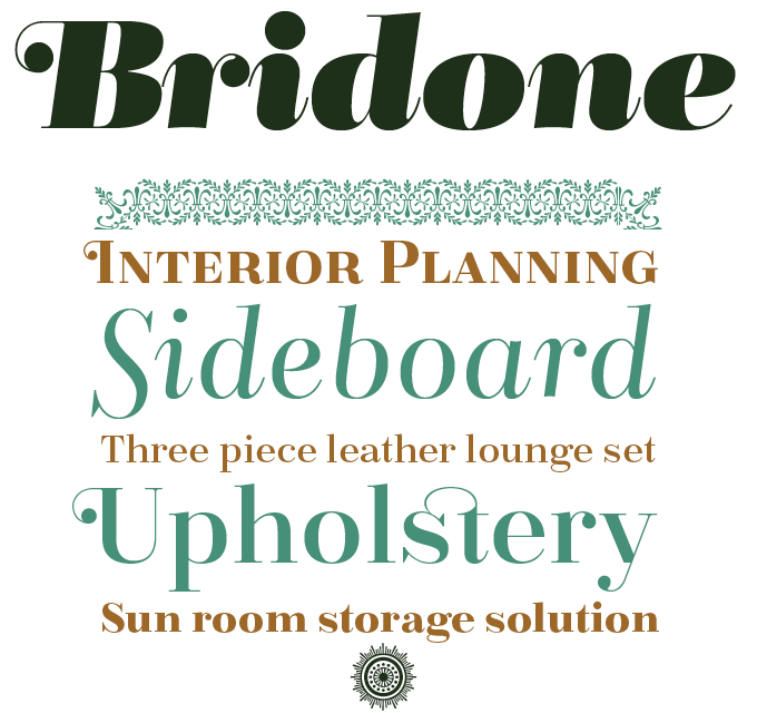 Bridone font sample
