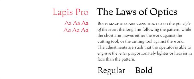 Lapis Pro font sample