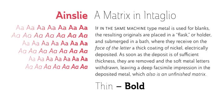 Ainslie font sample