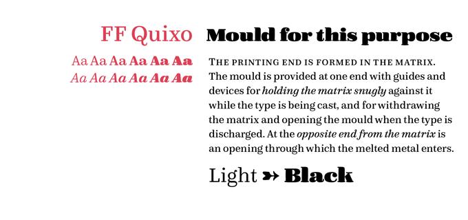 FF Quixo font sample