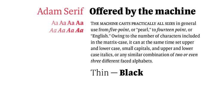 Adam Serif font sample