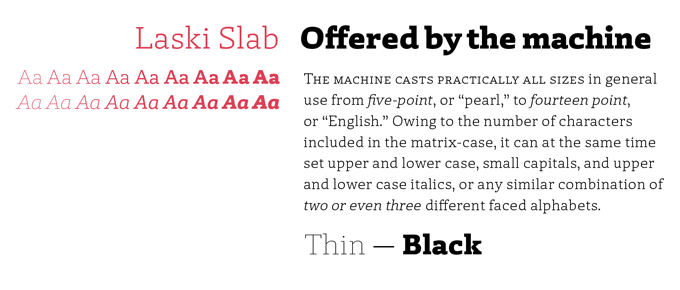 Laski Slab font sample