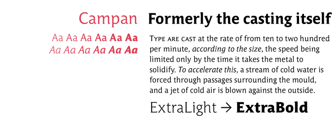 Campan font sample