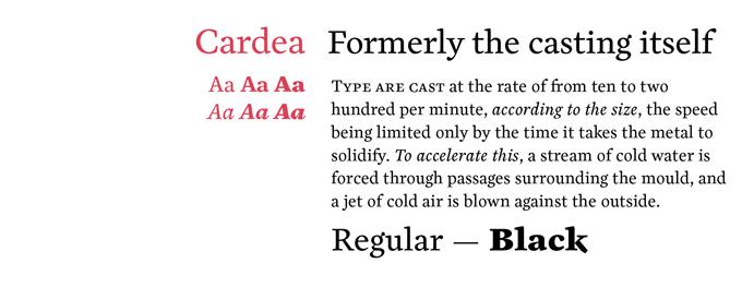 Cardea font sample