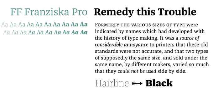 FF Franziska Pro font sample