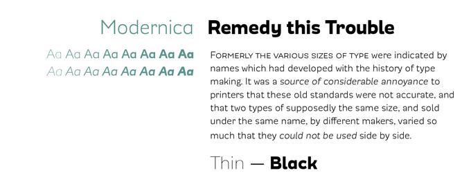 Modernica font sample