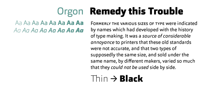Orgon font sample