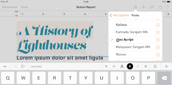 Using custom fonts on iOS devices