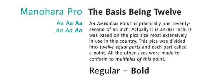 Manohara Pro font sample