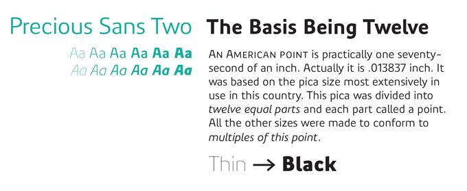 Precious Sans font sample