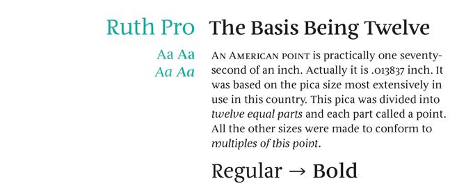 Ruth Pro font sample