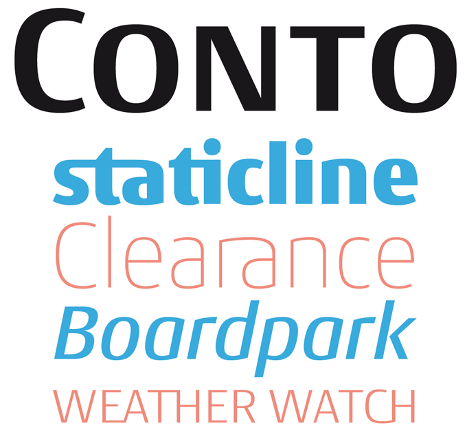 Conto font sample