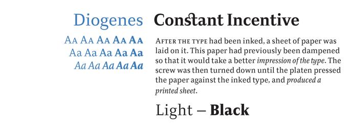 Diogenes font sample