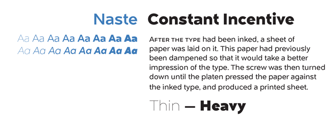 Naste font sample