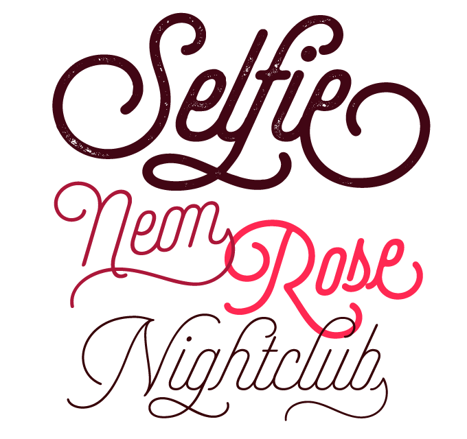 Selfie font sample
