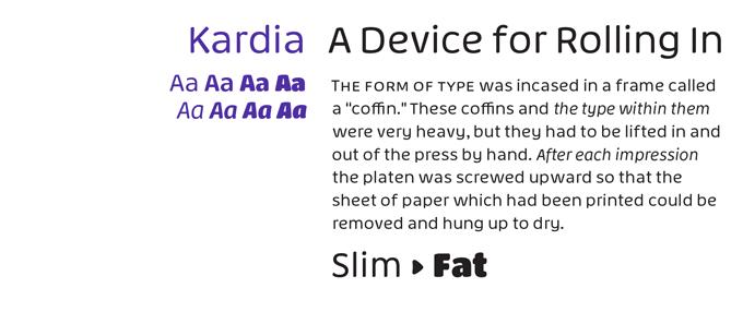 Kardia font sample
