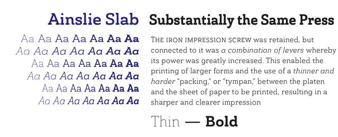Ainslie Slab Pro font sample