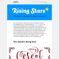 MyFonts Rising Stars Newsletter, February 2015
