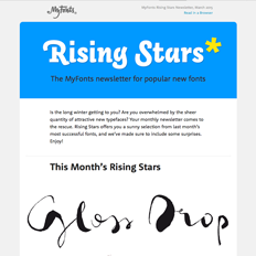 MyFonts Rising Stars Newsletter, March 2015