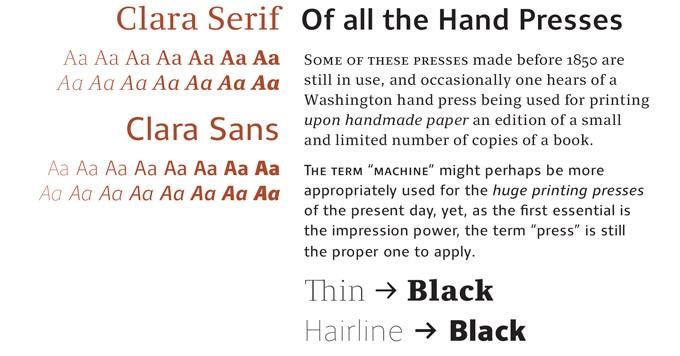 Clara Sans and Serif Font Sample