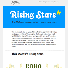 MyFonts Rising Stars Newsletter, May 2015