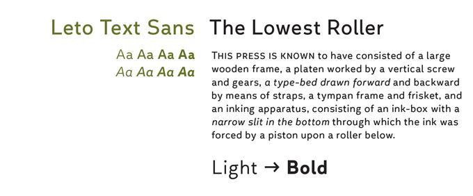 Leto Text Sans Font Sample