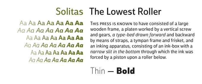 Solitas Font Sample