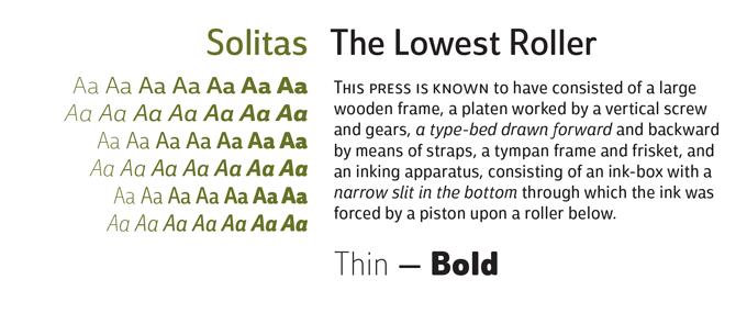 Solitas Font Sample
