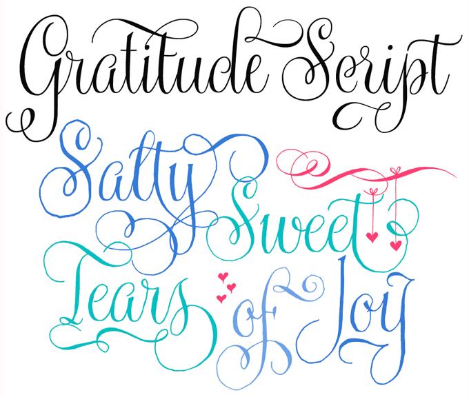 Gratitude Script Font Sample